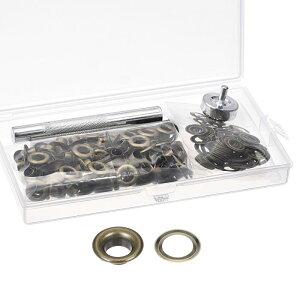 ソウテン グロメットツールキット コッパーグロメットアイレット ブロンズトーン 内径6mm 100セット入 取付ツール3個入