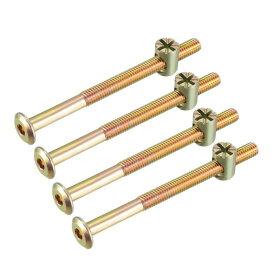 uxcell 家具ボルトナット M6x80mm 六角穴付ボルト 58mmスレッド長さ バレルナッツ プラスマイナス 亜鉛めっき 4セット入り