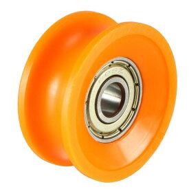 ソウテン uxcell ベアリングプーリー レールボールホイール Vグルーブガイド オレンジ 6x30x13mm 2個入り