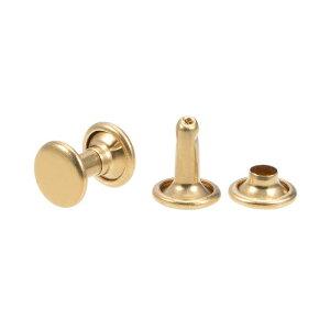 ソウテン レザークラフトリベット 8x11mm ダブルキャップリベット 真鍮材質 ゴールドトーン 20セット入り