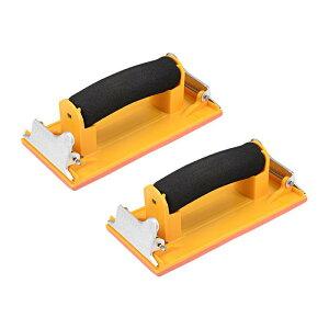 ソウテン サンドペーパーホルダー サンダーブロック ディスクホルダー ハンドツール プラスチックハンドル 18x9cm 2個入