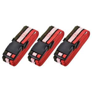 ソウテン 荷物ストラップ スーツケースベルト 4Mx5 cm バックル付き クロスアジャスタブル PPトラベルパッキングアクセサリー マルチカラー(レッド ピンク ダークグリーン) 3個