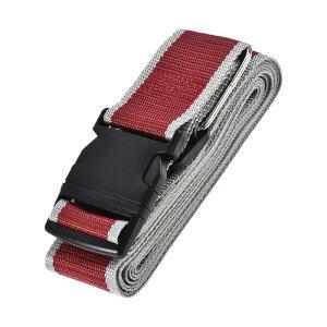 ソウテン 荷物ストラップ スーツケースベルト 4Mx5 cm バックル付き クロスアジャスタブル PPトラベルパッキングアクセサリー レッド グレー
