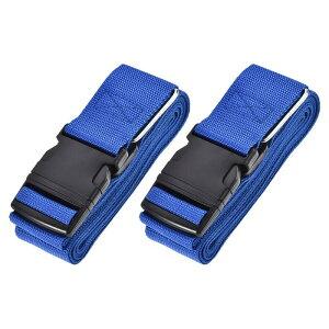ソウテン 荷物ストラップ スーツケースベルト 4Mx5 cm バックル付き クロスアジャスタブル PPトラベルパッキングアクセサリー ブルー 2個