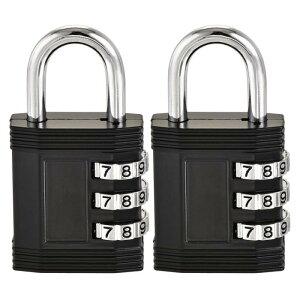 ソウテン 3桁組み合わせ南京錠 亜鉛合金製 ブラック セキュリティコード番号の数字 屋外防水保管室 トラベルスイートケース荷物61x32x13.5mm 2個入り