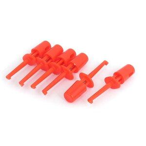 ソウテン テストクリップ 電気テストフック 電線 クリップ プローブ プラスチックシールド レッド 6個入り