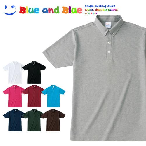 BLUE AND BLUE ブルーアンドブルー ユニセックス(メンズ・レディース) ボタンダウン ポロシャツ 半袖