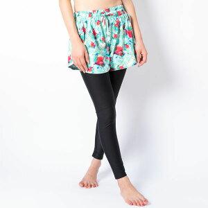 FILA フィラ レディース フィットネス水着 水陸両用 吸水速乾 花柄ボトム2点セット(レギンス/フレアパンツ) ミント 348546 フィットネス 水着 女性 体型カバー 大きいサイズ かわいい ブランド