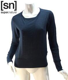 【sn】super.natural スーパーナチュラル レディース W BOXY CREWE TOP 110 / 長袖Tシャツ W003100-285