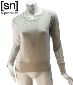 【sn】super.natural スーパーナチュラル レディース W BOXY CREWE TOP 110 / 長袖Tシャツ W003100-288