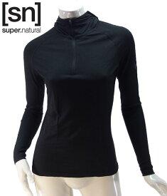 【sn】super.natural スーパーナチュラル レディース W BASE HOODED 1/4 ZIP 175 / 長袖Tシャツ W004180-001