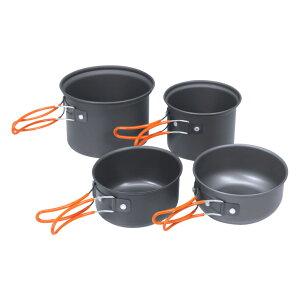 The First Gearシリーズ アルミアウトドアクッカー4点セット キャンプ調理に必要な鍋(器)の4個セット 焚き火 たき火 BBQ ソロキャンプ アウトドアギア クッカーセット 料理 食器 お皿 無骨 ブッシ