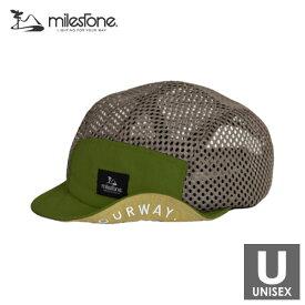 milestone(マイルストーン) original cap MSC-013 GRASS GREENxBEIGE メンズ・レディース メッシュキャップ 【トレイルランニング/ジョギング/アウトドア/キャップ/帽子】
