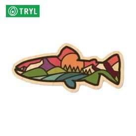 TRYL WOOD STICKER(ウッドステッカー) Rainbow Trout 木材を使用した自然素材のステッカー 【トレイルランニング/ジョギング/アウトドア/ブッシュクラフト/ステッカー/シール/グッズ】