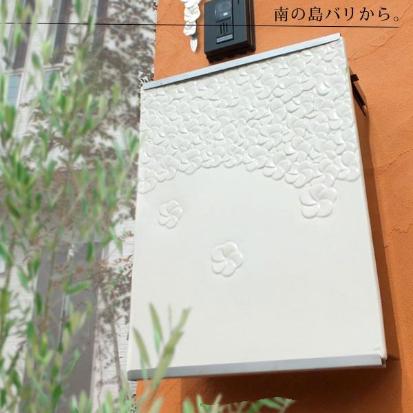 【ジェンガラ ポスト】 南国の花が舞い散る♪美しい陶板の郵便ポスト「ジェンガラポスト」たくさんの小花は浮き彫りのプルメリア!バリ島アジアンリゾートで人気のジェンガラ社です。【POST】【送料無料】