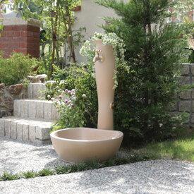 【水栓柱】【立水栓】 「ナチュラルデザインの立水栓 ポッシュ」 【水栓柱+ガーデンパン+蛇口1個セット】フラワーポットが可愛い屋外水栓【送料無料】