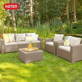 【ガーデン テーブル セット】【ラタン調】【屋外家具】「ケター (KETER) カリフォルニア 3人掛けガーデンソファー・テーブル 4点セット」