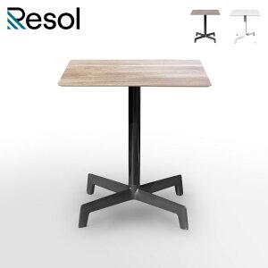 ガーデンテーブル おしゃれ 正方形 「Resol Sputnik リソル スプートニック スクエアテーブル 70cm×70cm」 高さ73.5cm オーク/ブラック HPL(木調)/アルミ/樹脂製