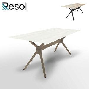 ガーデンテーブル 大型 おしゃれ ウッド調天板 長方形 「Resol Vela L リソル ヴェラ エル テーブル 180cm×90cm」 高さ74cm オーク/ホワイト/ブラック HPL(木調)/アルミ/樹脂製