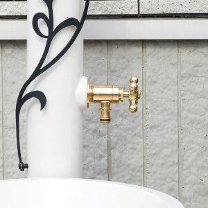 【補助蛇口】「ホース接続水栓 十字ハンドル」