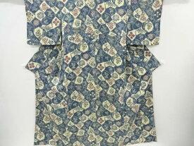 型染石畳に草花模様小紋着物【リサイクル】【中古】【着】 宗sou