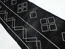 羅 幾何学模様刺繍名古屋帯【リサイクル】【中古】【着】 宗sou