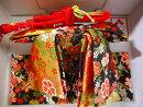 七五三結び帯作り帯3歳用小寸金襴黒桜小寸vol.07