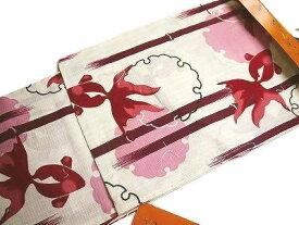 女性用浴衣 プレタ浴衣 仕立て上がり変わり織 綿紅梅 SHU-022L/3Lグランデ(トール)サイズ (160~175cm) 雪輪に金魚(生成りに紅赤系) 秀鳳(株)オリジナル
