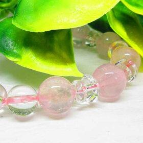 【天然石】ローズクオーツ(紅水晶10ミリ)水晶(8ミリ)