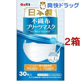 日本製不織布プリーツマスク ふつうサイズ(30枚入*2箱セット)