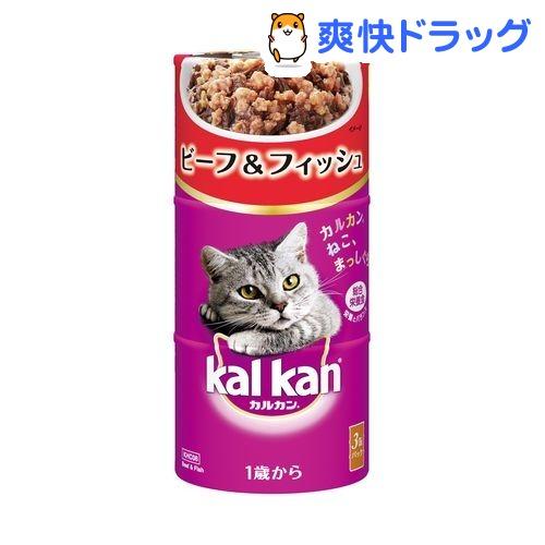 カルカン ハンディ缶 1歳から ビーフ&フィッシュ(160g*3缶)【カルカン(kal kan)】