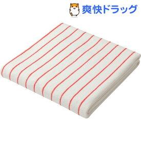 カラリクオ バスタオル ストライプ ホワイト*レッド(1枚入)【カラリ(carari)】