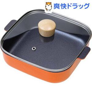 プチなべ IH対応しかくい卓上鍋 18cm オレンジ RB-1703(1個)