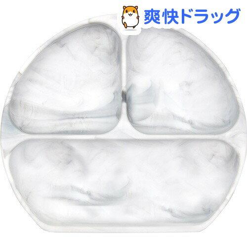 バンキンス 吸盤付きシリコンディッシュ グレーマーブル(1コ)【バンキンス(bumkins)】