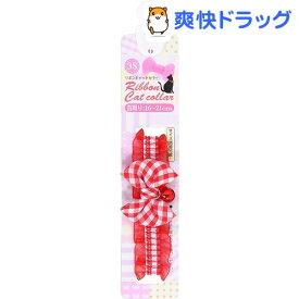 ねこモテ チェック猫リボンカラー 3Sサイズ 赤(1コ入)【ねこモテ】
