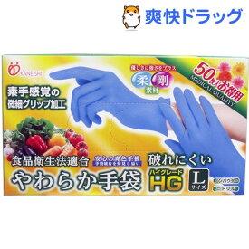 やわらか手袋 ハイグレード スーパーブルー Lサイズ(50枚入)【やわらか手袋】
