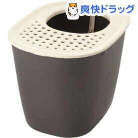 リッチェル ラプレ 砂取りネコトイレ ダークグレー(1個)【リッチェル(ペット)】