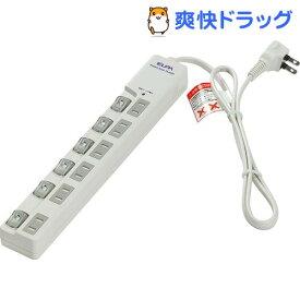エルパ(ELPA) LEDランプスイッチ付タップ 耐雷サージ機能付 上挿し 6個口 1m WLS-LU610MB(W)(1コ入)【エルパ(ELPA)】