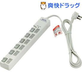 エルパ(ELPA) LEDランプスイッチ付タップ 耐雷サージ機能付 上挿し 6個口 2m WLS-LU620MB(W)(1コ入)【エルパ(ELPA)】