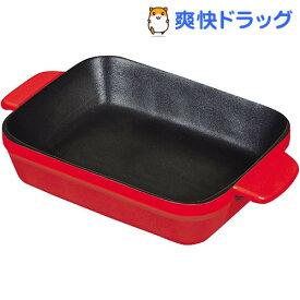 オーブンシェフ ふっ素加工耐熱深型プレート レッド 18*14cm L-1823(1コ入)