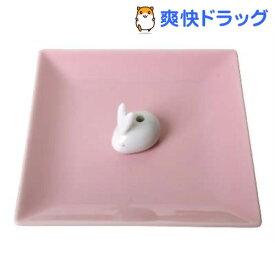陶器香皿&ウサギ香立(ピンク)(1コ入)【日本香堂】