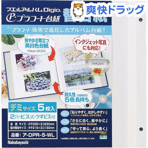 フリー替台紙 プラコート台紙 ビス式/デミサイズ ホワイト ア-DPR-5-WL(5枚入)【ナカバヤシ】