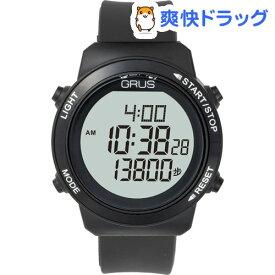 GRUS 歩幅計測機能付ウォーキングウォッチ ブラック*ブラック GRS001-02(1コ入)【GRUS(グルス)】
