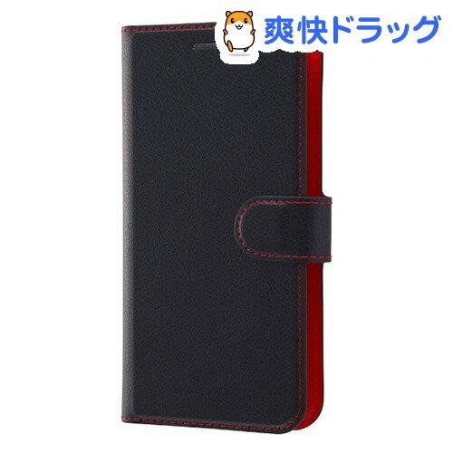 AppLe iPhone X 手帳型ケース シンプル マグネット ブラック/レッド RT-P16ELC1/BR(1コ入)【レイ・アウト】