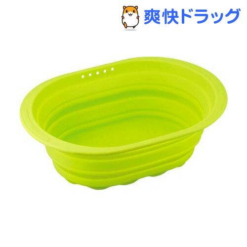 スキッとシリコーン 小判型洗い桶 グリーン SR-4882(1コ入)【スキッとシリコーン】