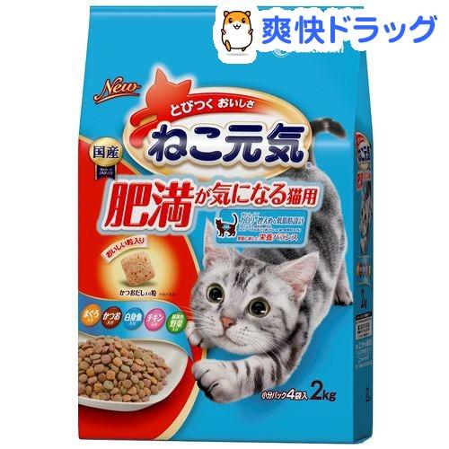 ねこ元気 肥満が気になる猫用 まぐろ・かつお・白身魚・チキン・緑黄色野菜入り(2kg)【ねこ元気】