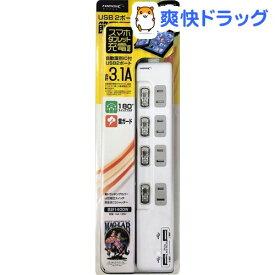 ハイディスク USB2ポート付き 節電タップ(AC×4+USB×2) ホワイト HDUTC4U2WH(1個)【ハイディスク(HI DISC)】
