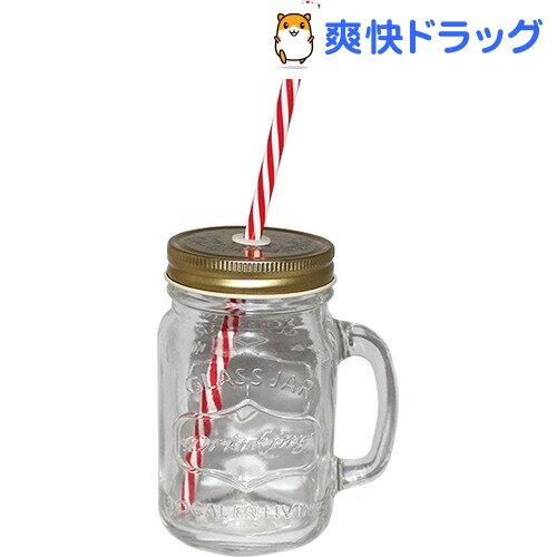 ガラス製 ドリンクジャー ストロー付き ゴールド 704746(1コ入)[メイソンジャー ストロー ビールジョッキ]