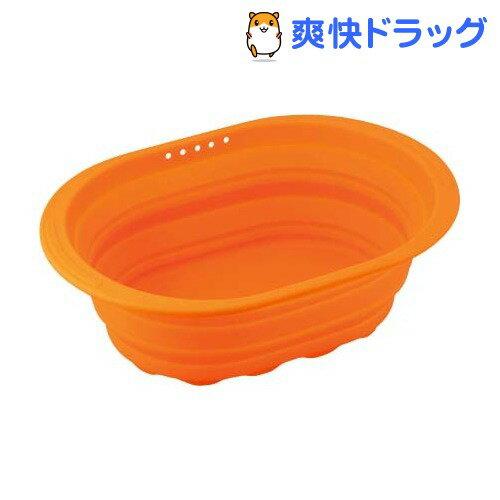 スキッとシリコーン 小判型洗い桶 オレンジ SR-4883(1コ入)【スキッとシリコーン】【送料無料】