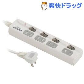 4個口 LED個別スイッチ付きタップ 雷サージ軽減機能 2.5m HS-T1950W(1コ入)